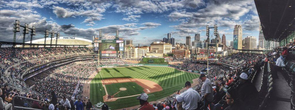 View of baseball stadium and crowd.