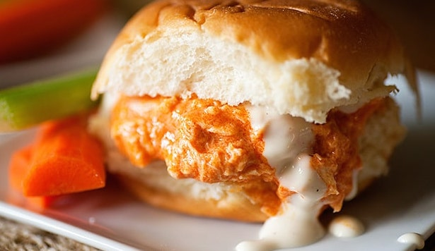 Buffalo chicken sandwiches for party.
