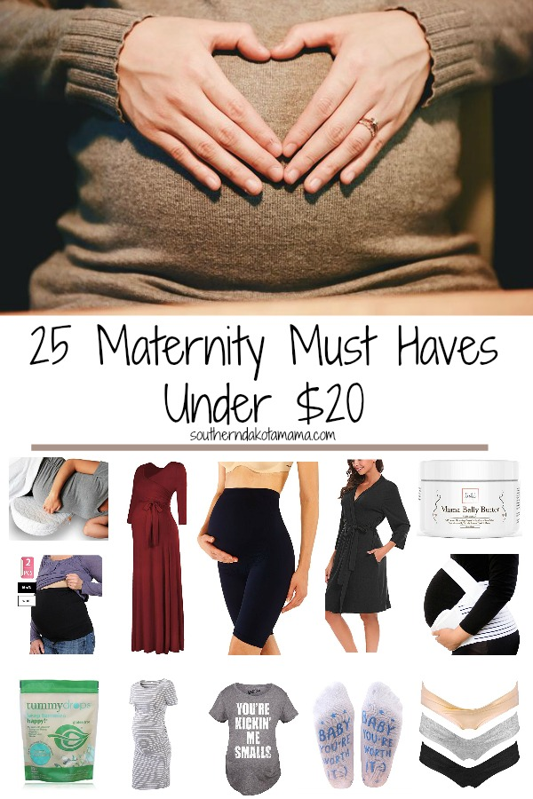 Pinterest graphic with text for Maternity Must Haves and collage of maternity clothing and products.