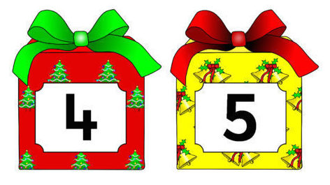 Cartoon of numbered Christmas presents.
