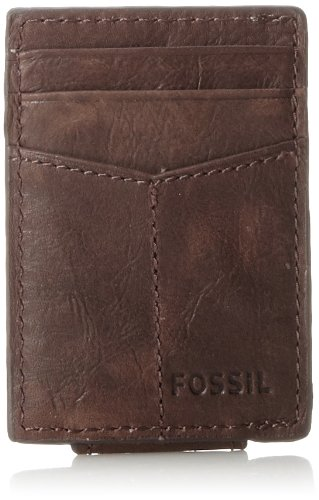 Fossil brand compact brown leather wallet for men.