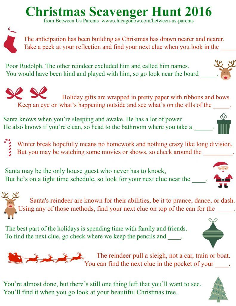 Family Christmas traditions scavenger hunt.