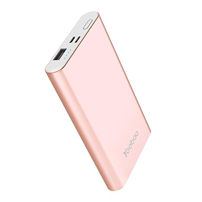 Rose gold portable charging bank Christmas gift.
