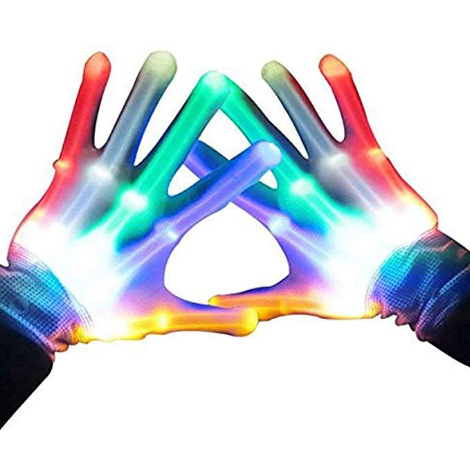 Kids, flashing LED gloves.
