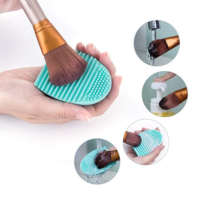 Teal makeup brush cleaning egg.