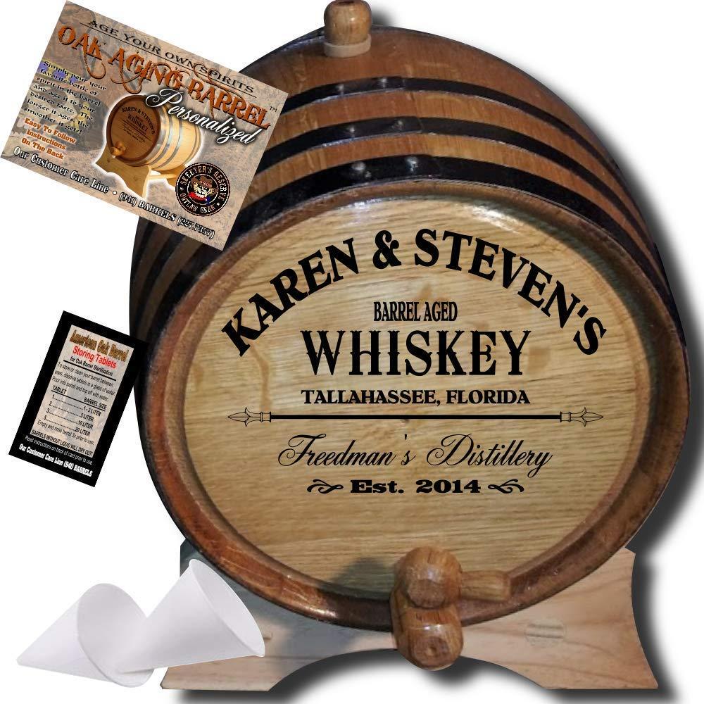 American oak whiskey aging barrel.