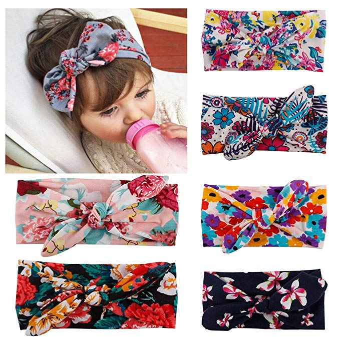Turban knotted baby headbands with floral print.