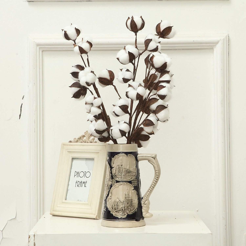 Cotton stems in decorative vase.