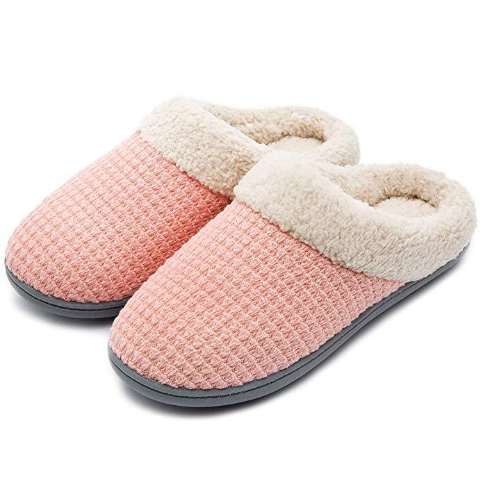 Fleece memory foam slippers.