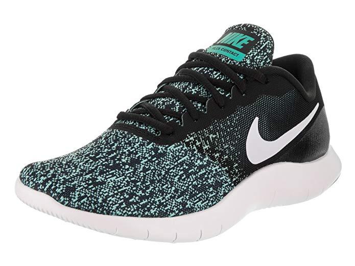 Teal and black Nike Flex Running Shoe for women.