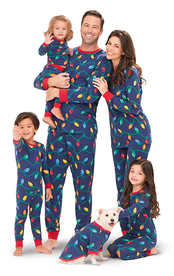 Christmas tree light PJs for the whole family.