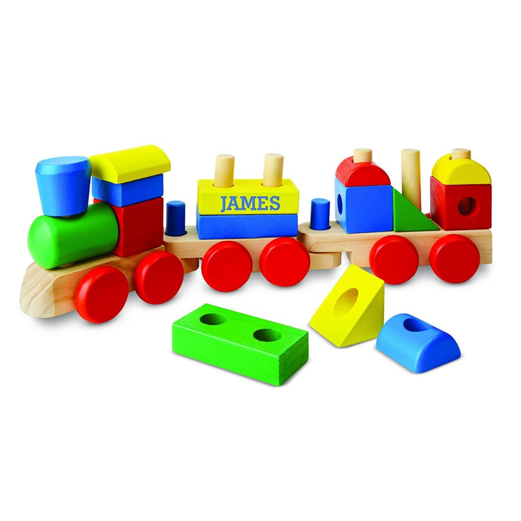 Personalized wooden toy train for toddlers.
