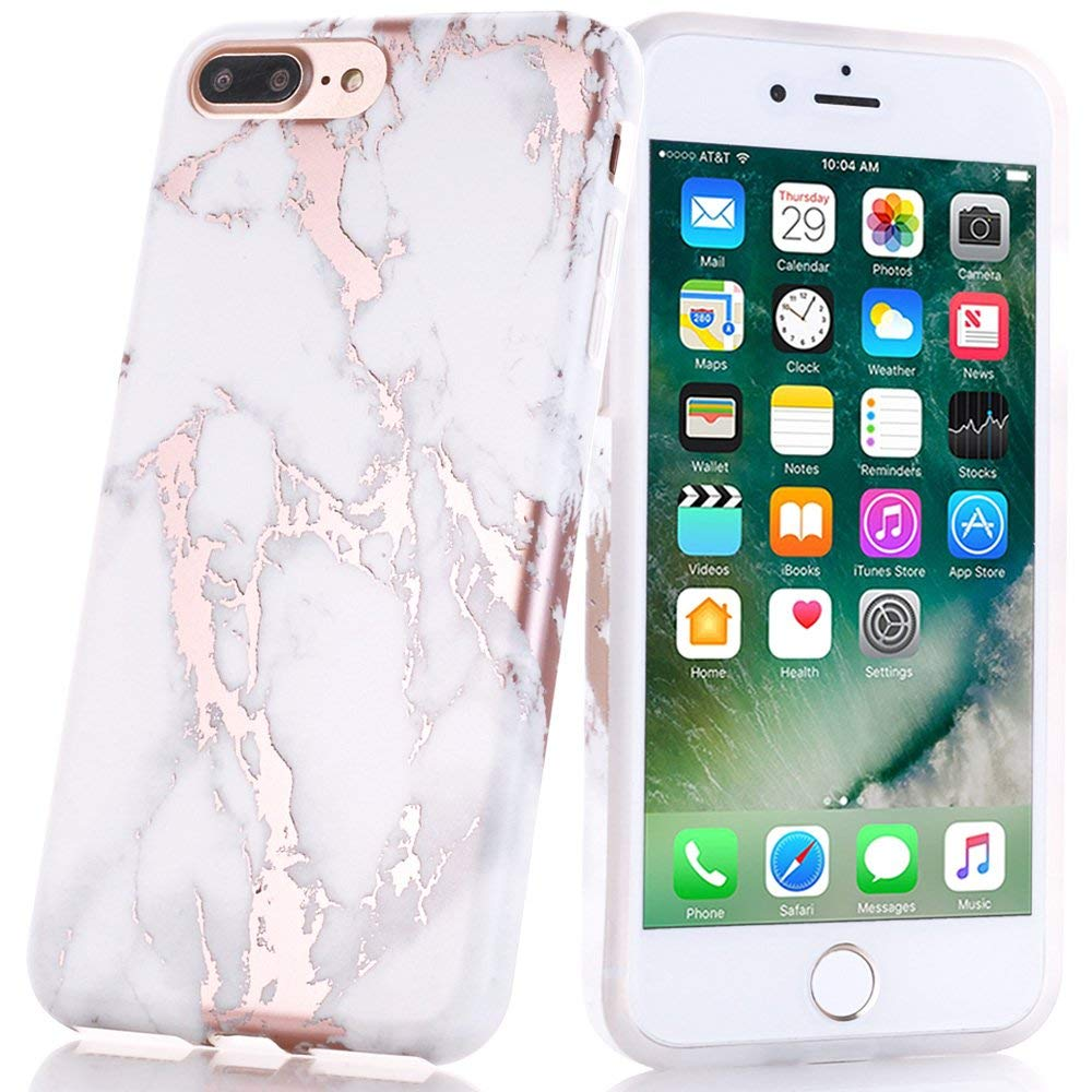 Rose gold marble phone case.