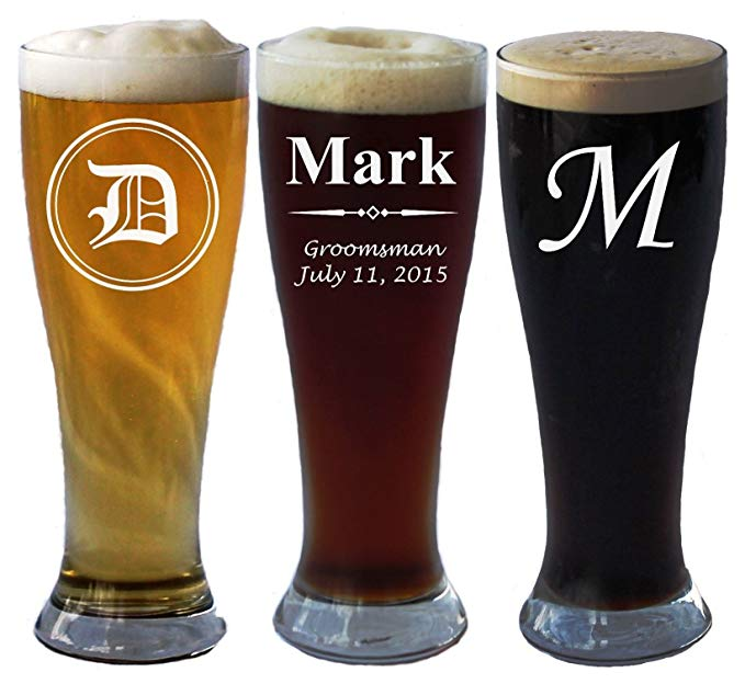 Personalized beer glasses gift set for him.