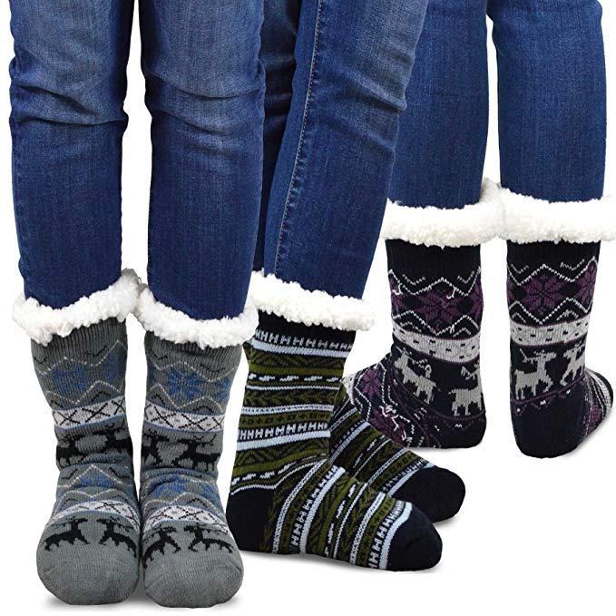 Double layer, fuzzy crew socks.