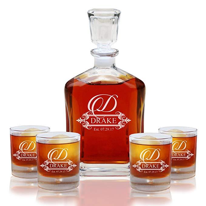 Drake whiskey decanter and glasses set.