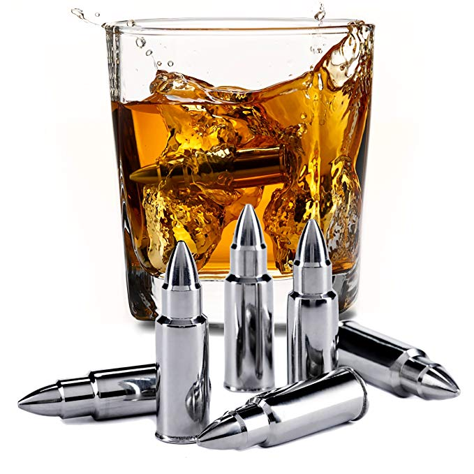 Stainless steel bullet shaped whiskey stones men\'s gift.