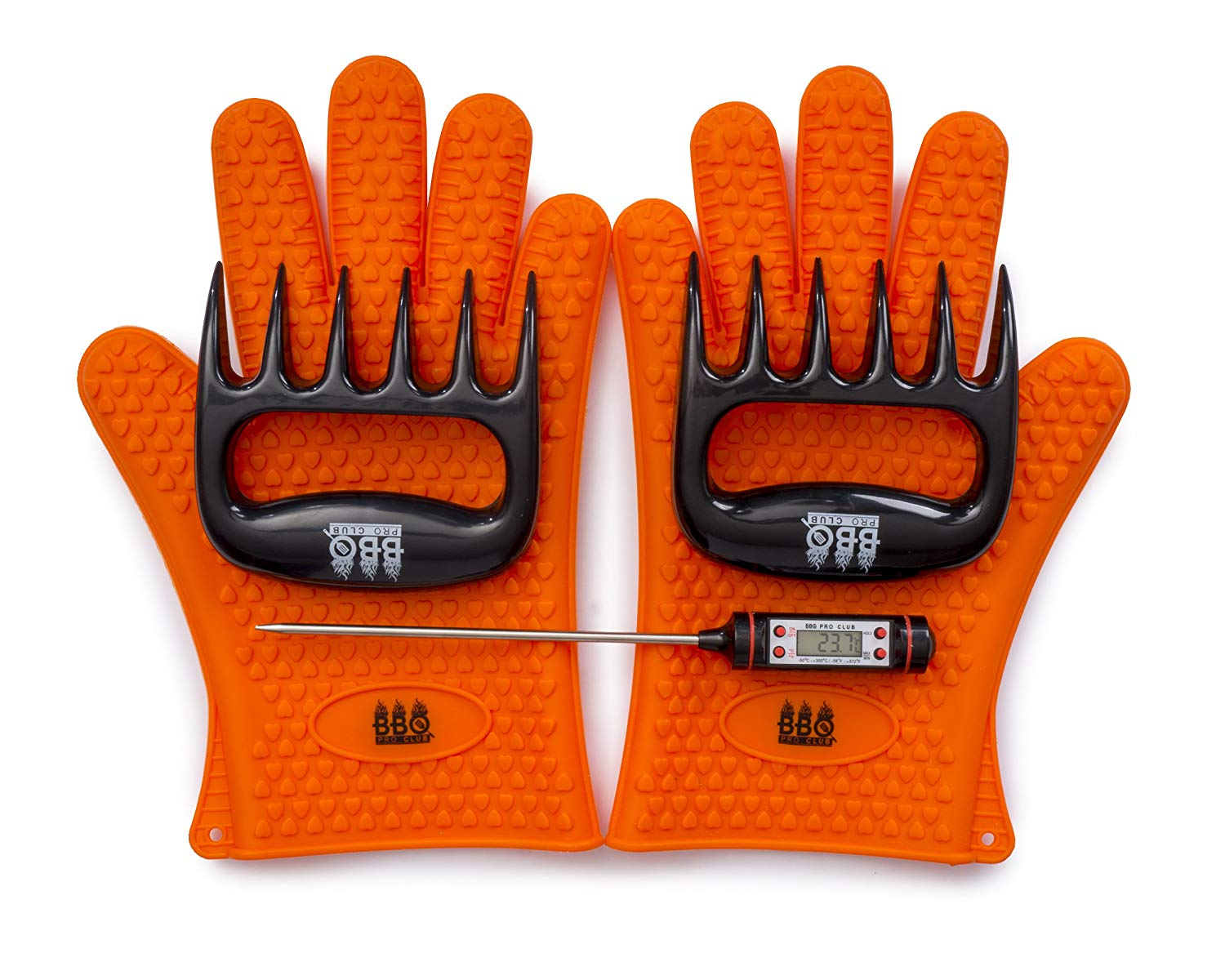 BBQ grilling set with gloves and thermometer.