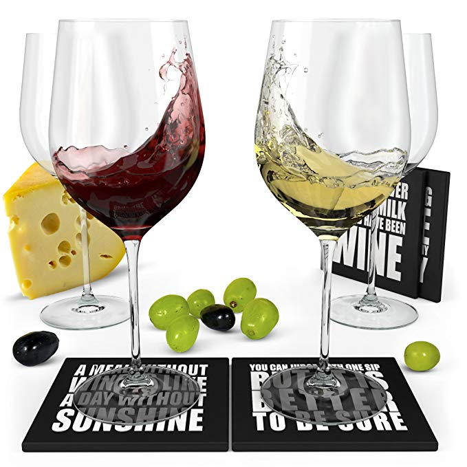 Wine glass and coasters gift set for her.