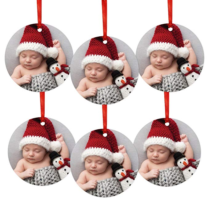 Personalized Christmas ornaments with family pictures.