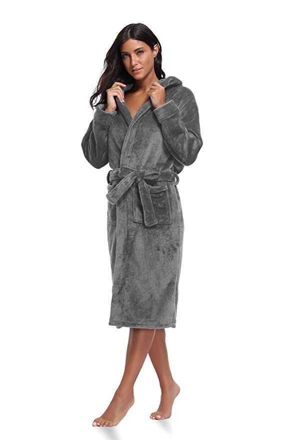 Plush, gray women\'s bathrobe.