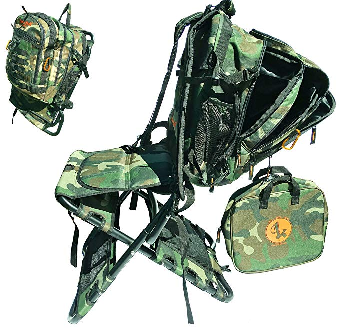 Portable, camouflage folding backpack chair.