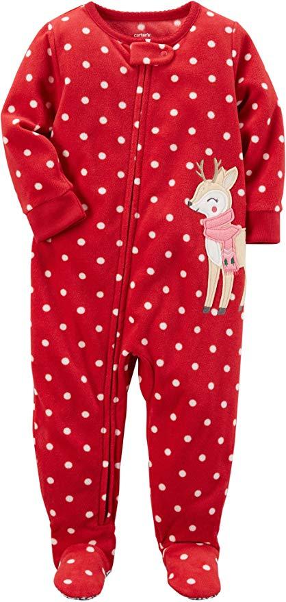 Red Christmas onesie pajamas with white polka dots.