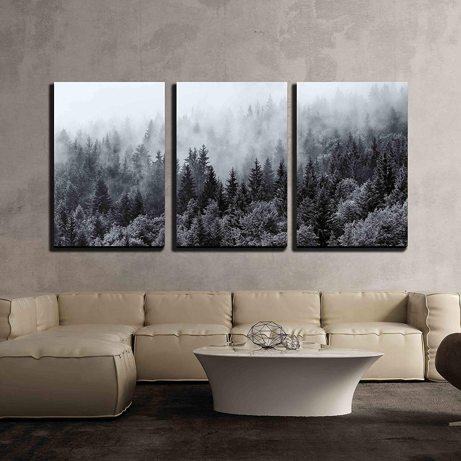 3 piece wall mural with forest mountain scene.