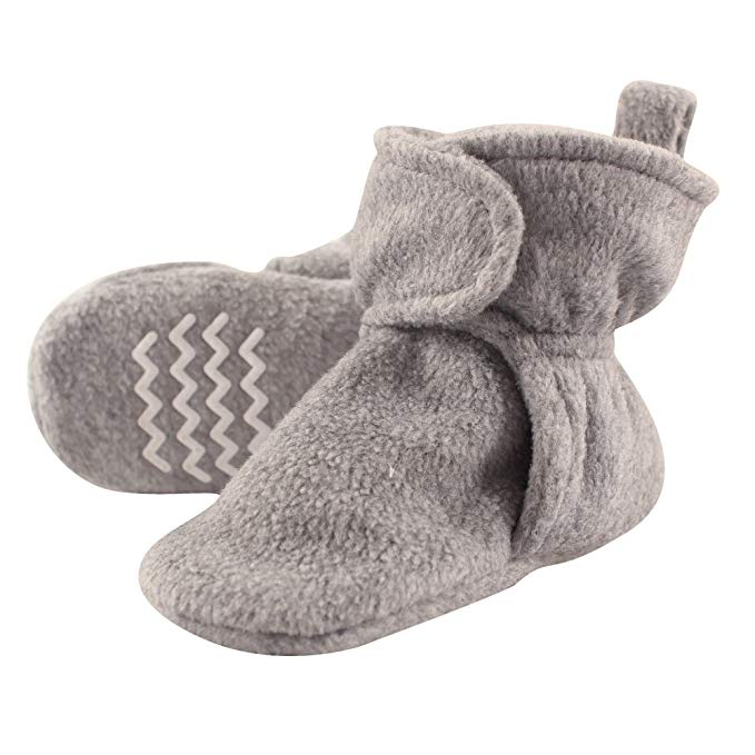 Gray, fleece baby booties.