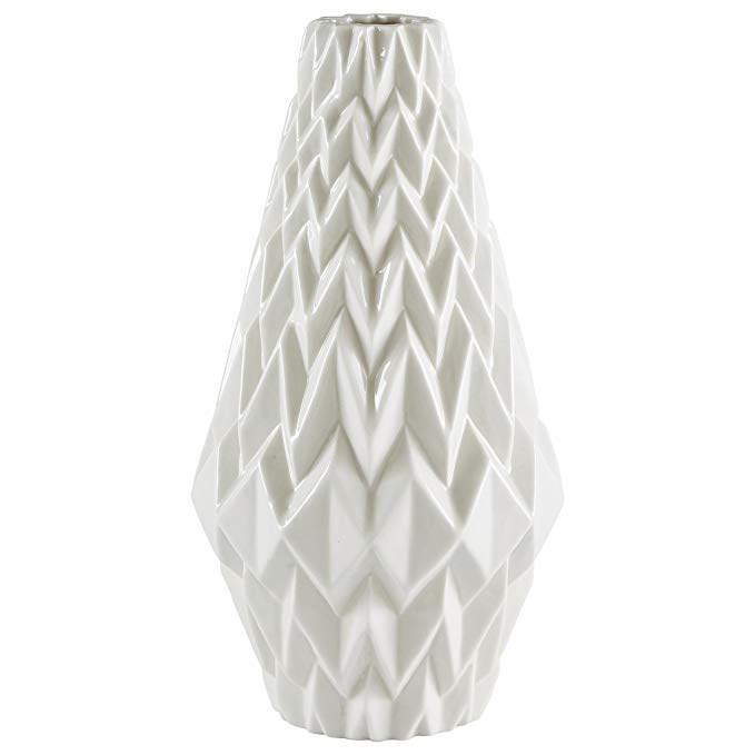 White geometric home decor vase.
