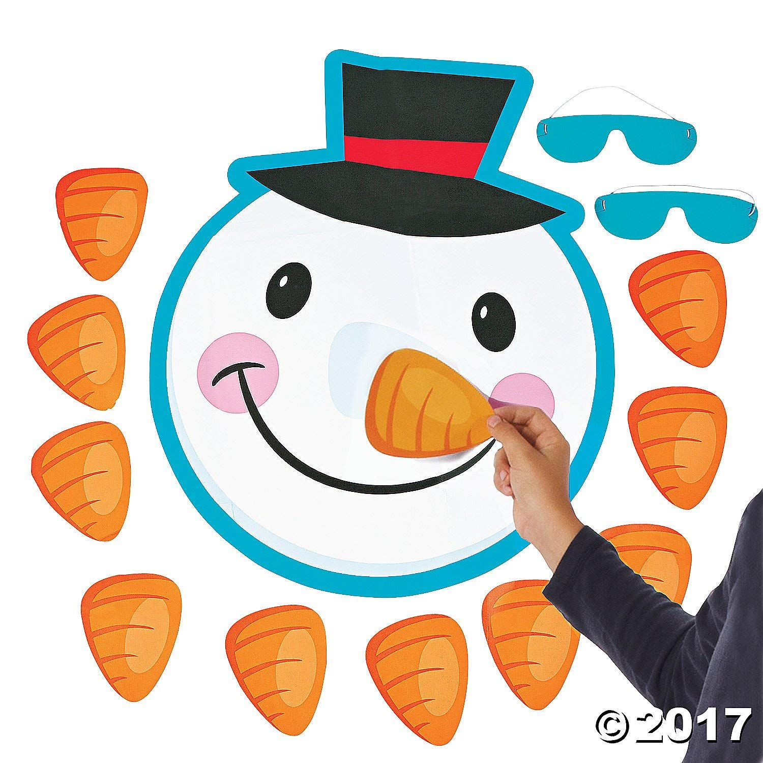 Pin the nose on the snowman holiday activity idea.