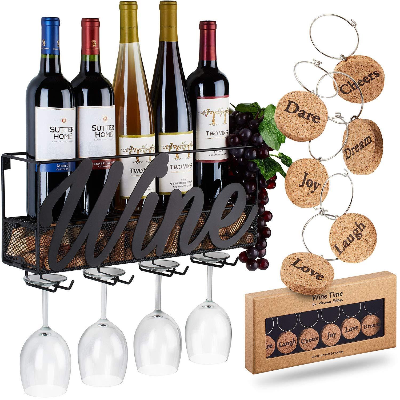 Wine rack with glass holder and cork storage.