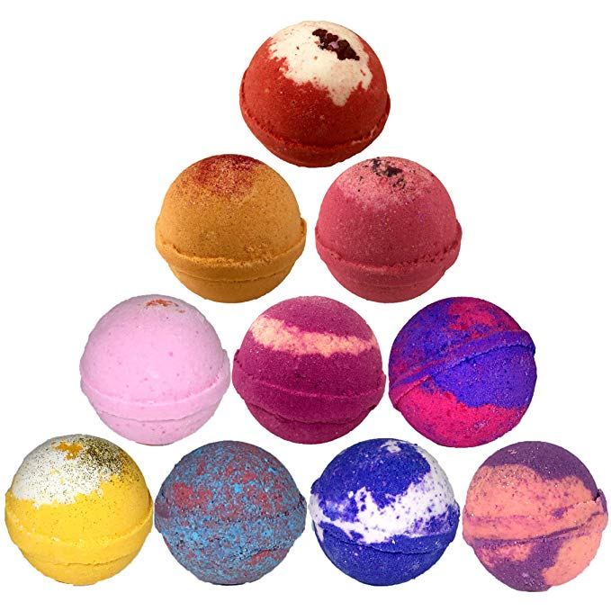 Assortment of colorful bath bombs.