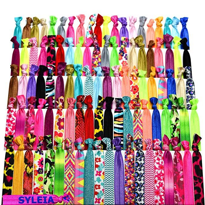 Several colorful no-crease hair ties.
