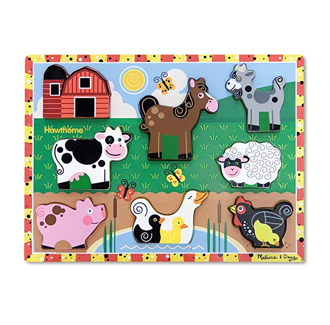 Wooden farm animal puzzle for toddlers.