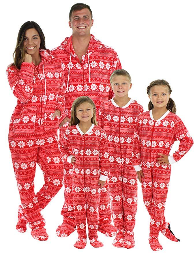Family in hooded PJ set for Christmas.