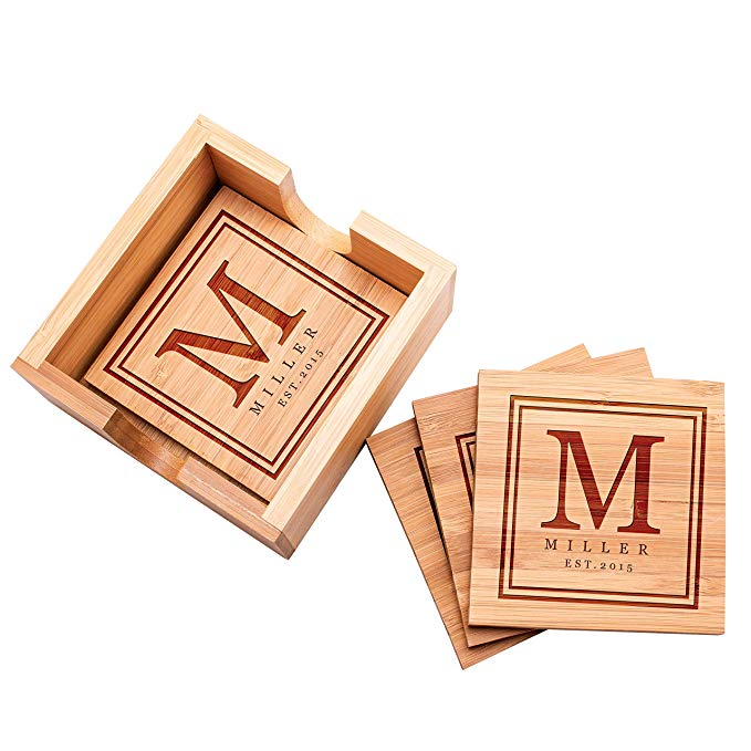 Customizable coasters gift set for him.