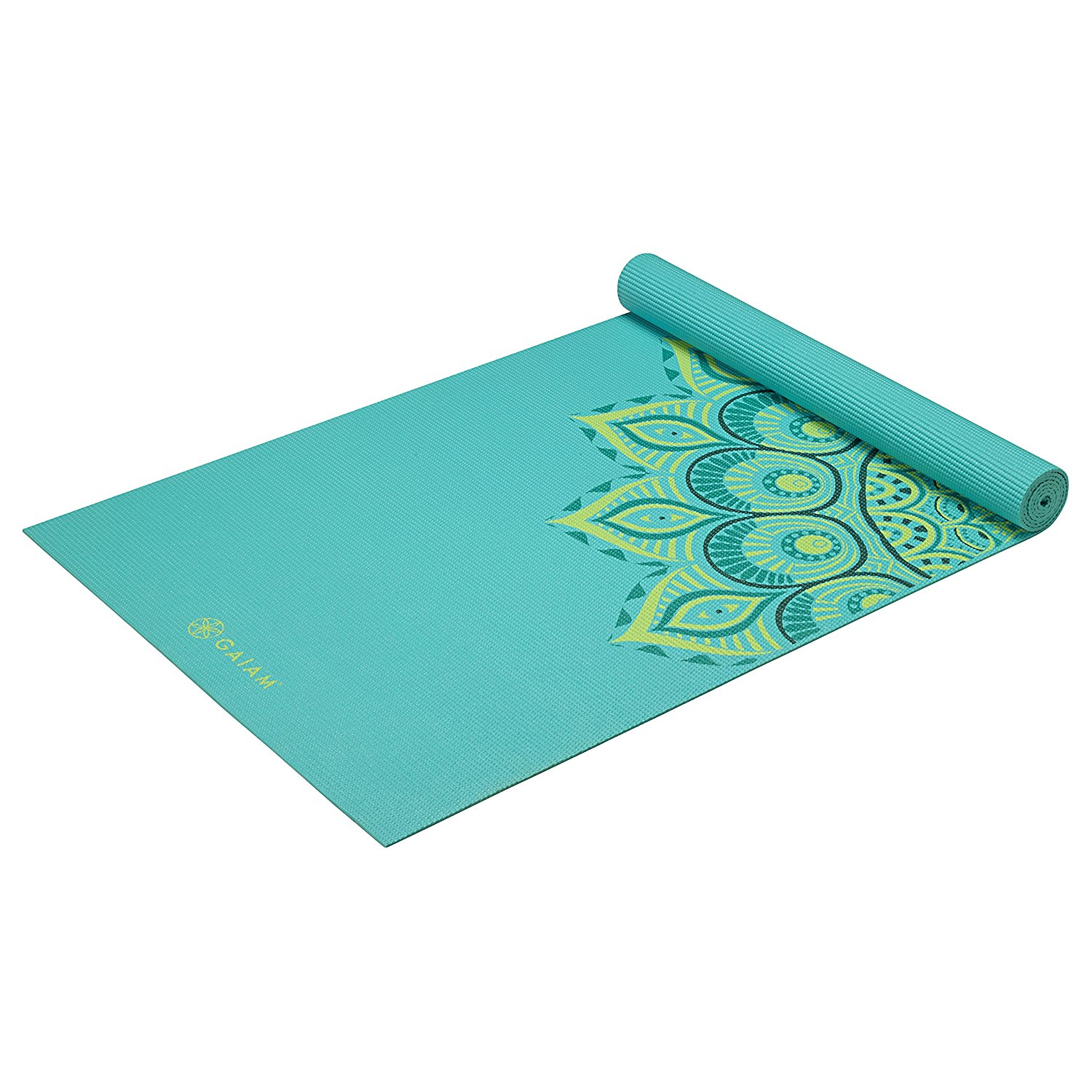 Teal yoga mat with floral detail.