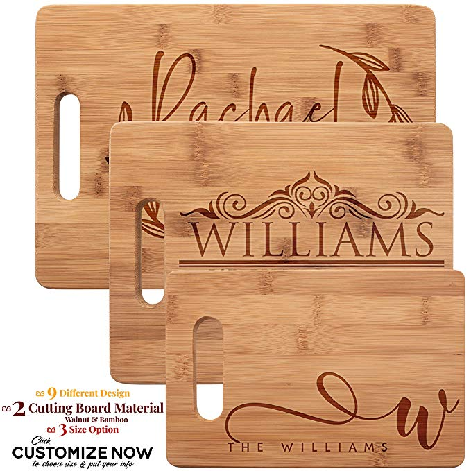 Personalized wooden cutting boards gift for her.