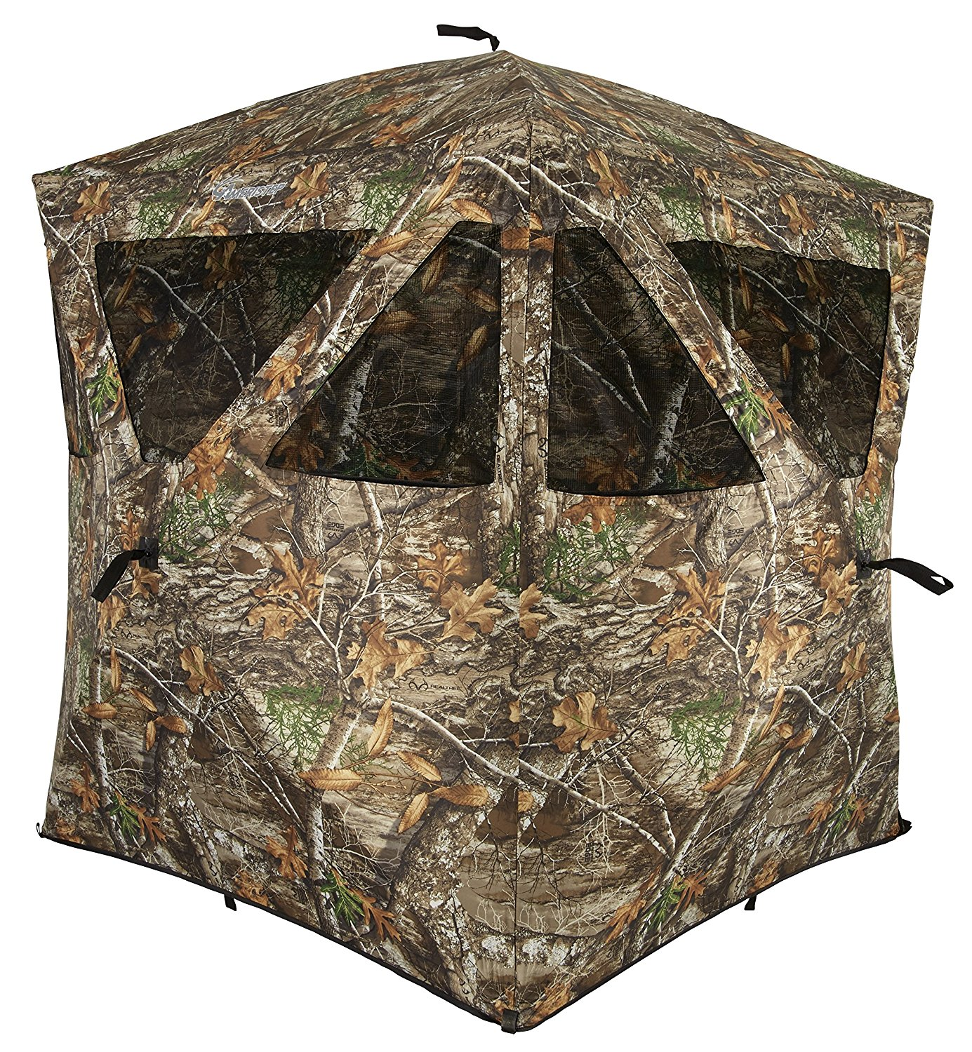 Camouflage blind for bow, gun, or crossbow hunting.