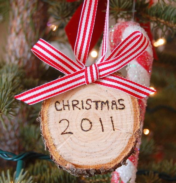 Rustic miniature stump, personalized Christmas ornament.