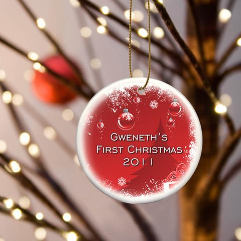 Personalized ornament for baby\'s first Christmas.