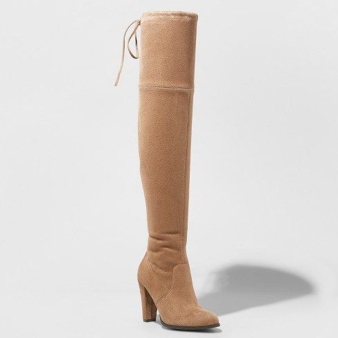 Camel over the knee boot.