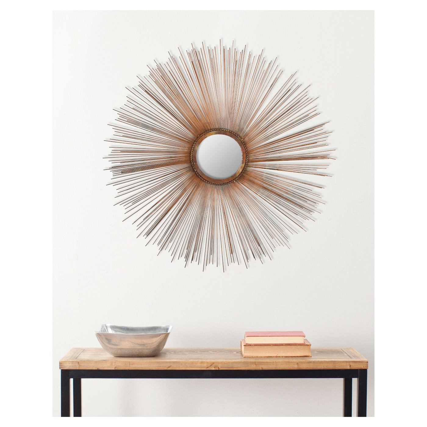 Round decorate wall mirror.