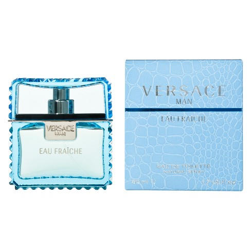 Versace men\'s cologne in blue bottle.