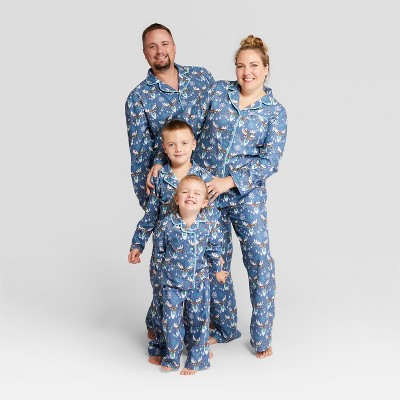 Blue, white and red pajama sets for the whole family.