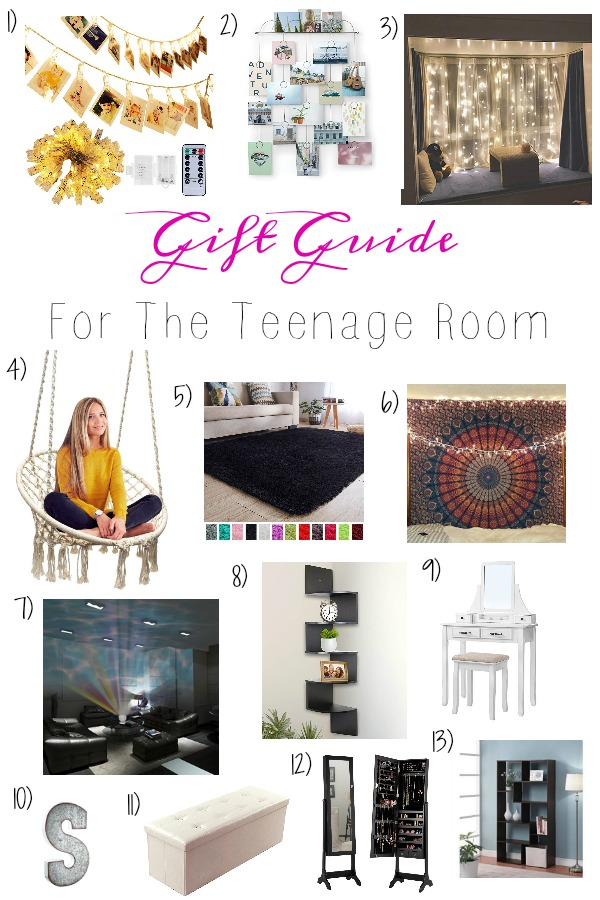 Pinterest graphic with text for Gift Guide for the Teenage Room and collate of teen girl bedroom decor.