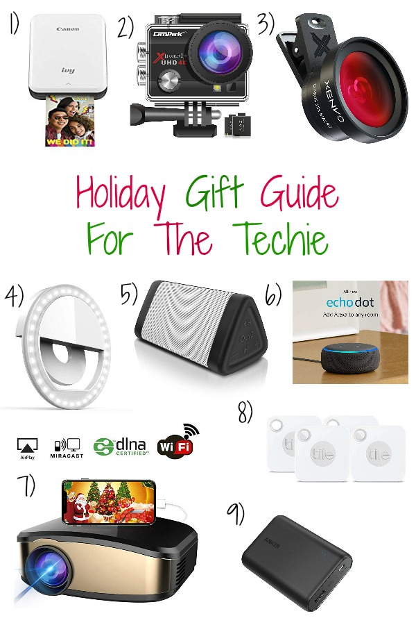 Pinterest graphic with text for Holiday Gift Guide for the Techie and collage of tech products.