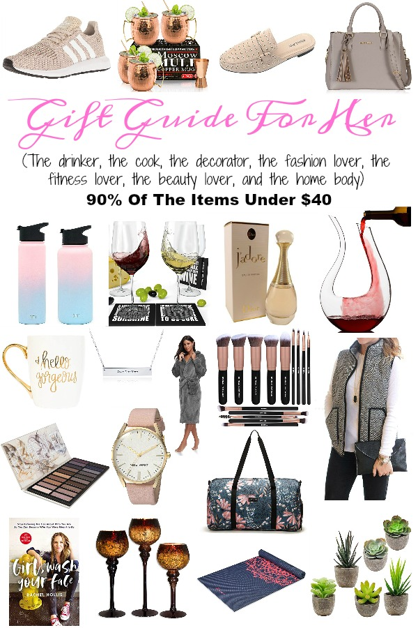 Pinterest graphic with text for Gift Guide for Her and collage of women\'s gift ideas.