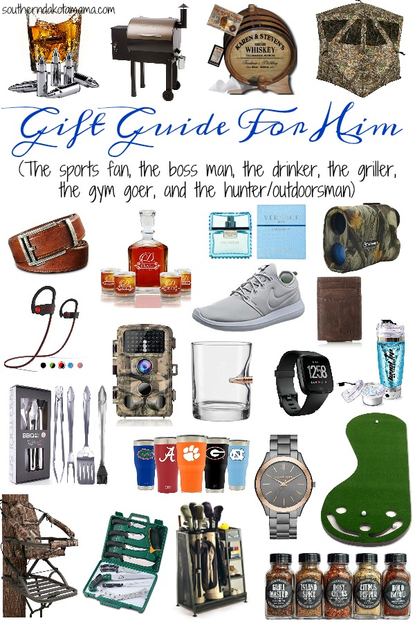 Pinterest graphic with text for Gift Guide for Him and collage of men\'s gift ideas.
